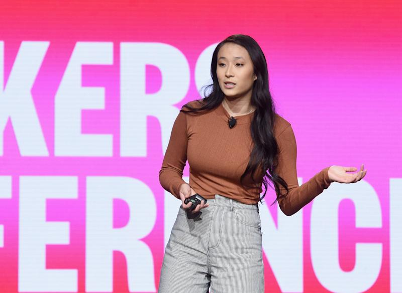 DANA POINT, CA - FEBRUARY 07: Founder & Executive Director, PERIOD.org Nadya Okamoto speaks onstage during The 2019 MAKERS Conference at Monarch Beach Resort on February 7, 2019 in Dana Point, California. (Photo by Vivien Killilea/Getty Images for MAKERS)