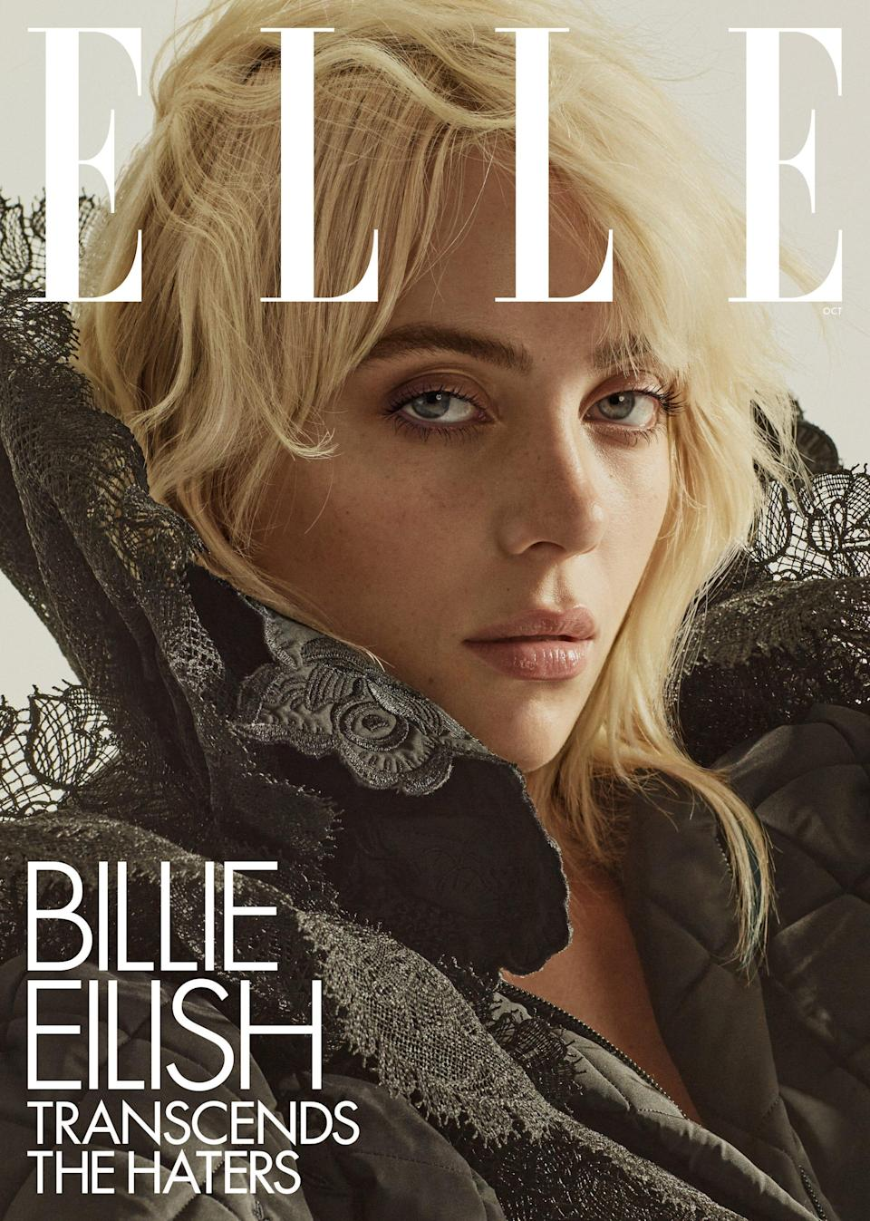 Singer Billie Eilish appears on the cover of Elle's October issue. Eilish told the outlet that dyeing her hair blonde was a significant change for her, both personally and professionally.