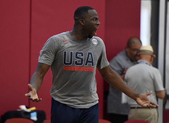 """<a class=""""link rapid-noclick-resp"""" href=""""/nba/players/5069/"""" data-ylk=""""slk:Draymond Green"""">Draymond Green</a> reacts during a Team USA practice session. (Getty Images)"""