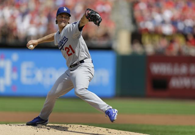 Los Angeles Dodgers starting pitcher Zack Greinke throws during the first inning of a baseball game against the St. Louis Cardinals Saturday, July 19, 2014, in St. Louis. (AP Photo/Jeff Roberson)