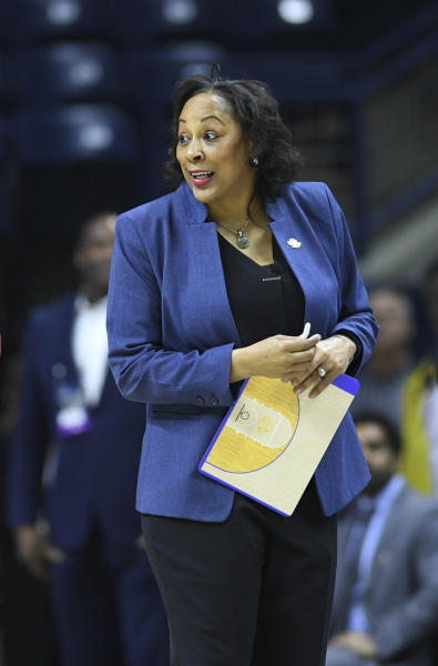 Buffalo head coach Felisha Legette-Jack reacts after beating Rutgers in a first-round game in the NCAA women's college basketball tournament Friday, March 22, 2019, in Storrs, Conn. (AP Photo/Stephen Dunn)