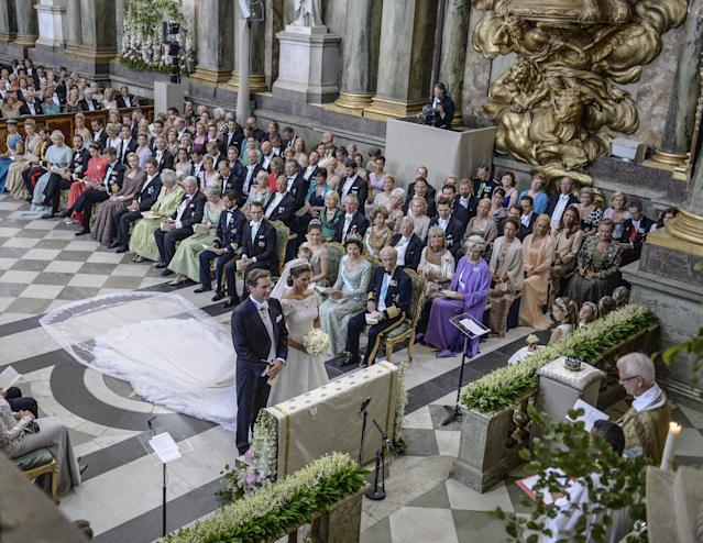 Princess Madeleine and Christopher O'Neill, at the Royal Chapel during their wedding ceremony in Stockholm, Saturday, June 8, 2013. (AP Photo/Scanpix Sweden, Jessica Gow) SWEDEN OUT