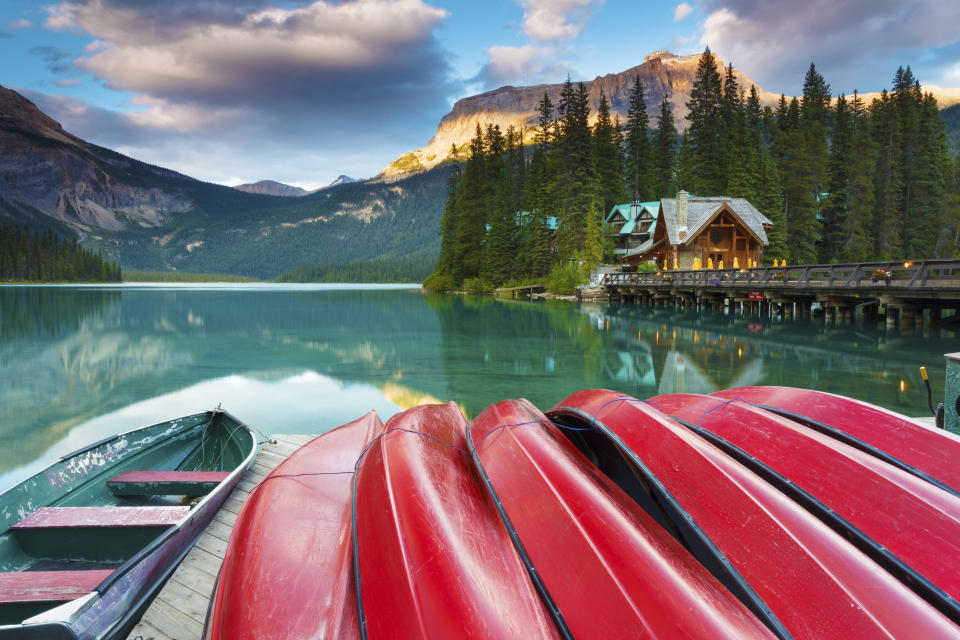 Late summer afternoon at Emerald Lake in Yoho National Park, British Columbia, Canada. Emerald Lake is a major tourism destination in the Canadian Rockies.