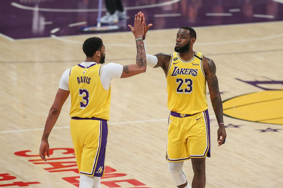 Anthony Davis and LeBron James will enter the playoffs as a No. 1 seed in their first season together. (Jevone Moore/Icon Sportswire via Getty Images)