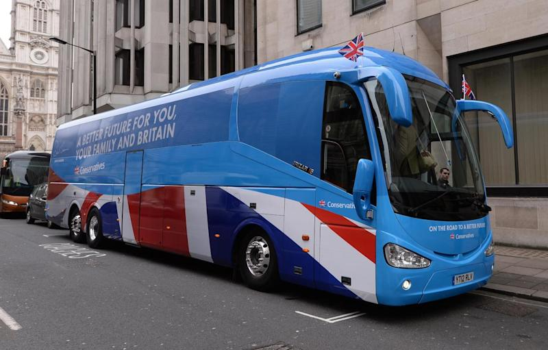 Tory candidates have been accused of breaking strict spending limits with their battle bus scheme (PA)