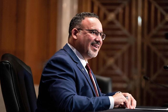 Education secretary nominee Miguel Cardona speaks during a Senate Health, Education, Labor and Pensions Committee hearing on the nomination on Capitol Hill, Wednesday, Feb. 3, 2021, in Washington. (Anna Moneymaker/The New York Times via AP, Pool) ORG XMIT: NYNYT422