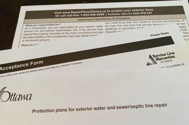 In February, residents began receiving these information packages about an insurance-like service provided by a private company. (CBC - image credit)