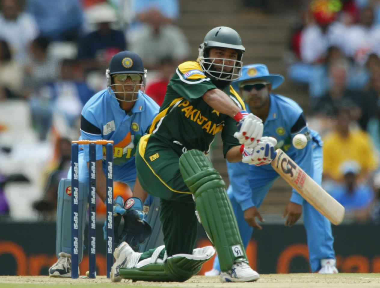 CENTURION - MARCH 1:  Saeed Anwar of Pakistan smashes a boundary on his way to a century during the ICC Cricket World Cup 2003 Pool A match between India and Pakistan held on March 1, 2003 at the Supersport Stadium, in Centurion, South Africa. India won the match by 6 wickets. (Photo by Mike Hewitt/Getty Images)