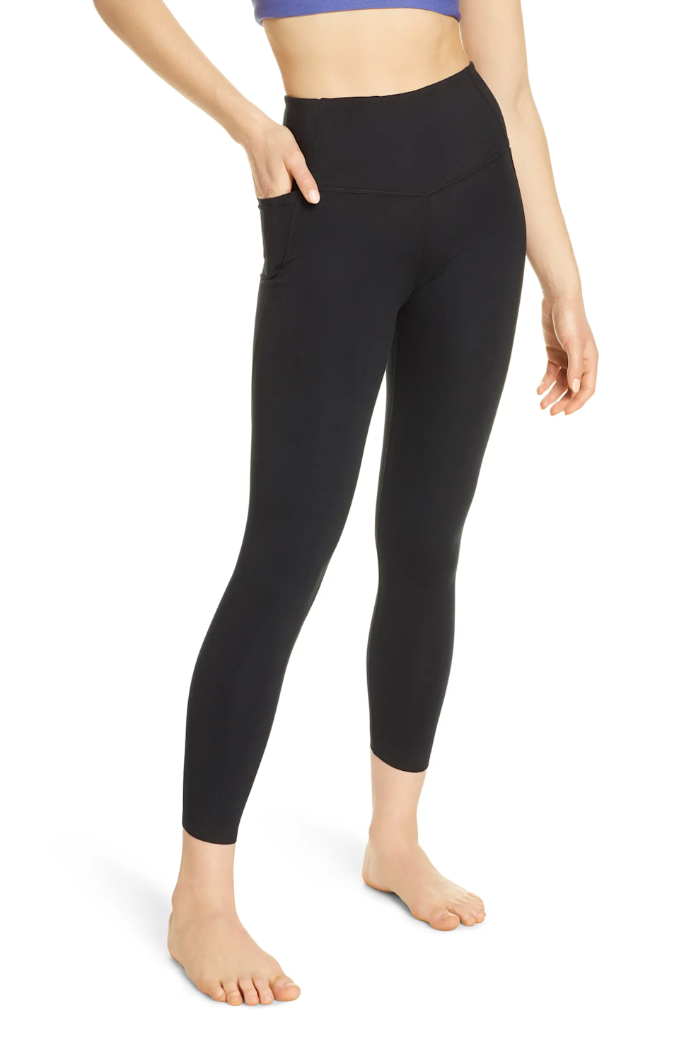 """<h3>Zella High-Waist Studio Pocket Leggings </h3><br><br>Made from moisture-wicking Zeltek fabric, this pair of top-rated and hip-hugging leggings boast one small pocket on each side, perfect for stashing small essentials<br><br>As one reviewer raved, """"I love these leggings. They're super comfortable and the perfect 'tightness' for working out. I'm a big fan of the pockets for my cell phone so I can have my phone on me while working out without having it on my arm or the ground. I highly recommend purchasing these and you can't go wrong for the price!!!""""<br><br><strong>Zella</strong> High Waist Studio Pocket 7/8 Leggings, $, available at <a href=""""https://go.skimresources.com/?id=30283X879131&url=https%3A%2F%2Fwww.nordstrom.com%2Fs%2Fzella-high-waist-studio-pocket-7-8-leggings%2F5460106"""" rel=""""nofollow noopener"""" target=""""_blank"""" data-ylk=""""slk:Nordstrom"""" class=""""link rapid-noclick-resp"""">Nordstrom</a>"""