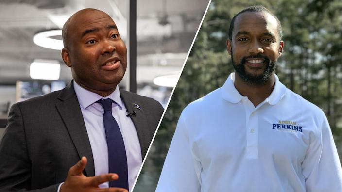 Jaime Harrison from South Carolina and Adrian Perkins from Louisiana. (Getty Images/Adrian Perkins campaign/Yahoo News)