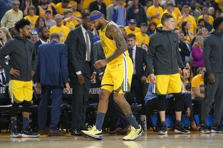 April 15, 2019; Oakland, CA, USA; Golden State Warriors center DeMarcus Cousins (0) walks off the court after an injury against the LA Clippers during the first quarter in game two of the first round of the 2019 NBA Playoffs at Oracle Arena. Mandatory Credit: Kyle Terada-USA TODAY Sports