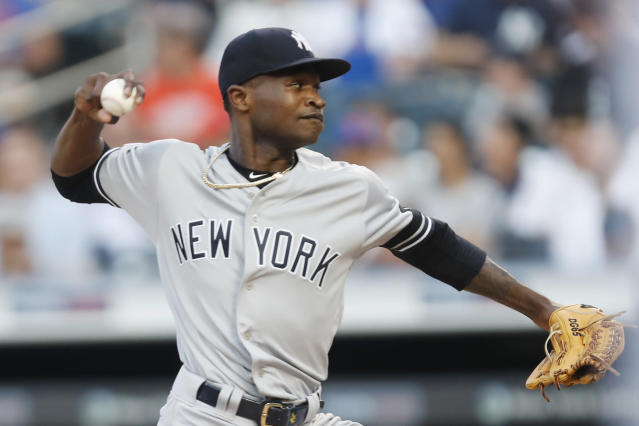 New York Yankees starting pitcher Domingo German winds up during the first inning of the team's baseball game against the New York Mets, Wednesday, July 3, 2019, in New York. (AP Photo/Kathy Willens)