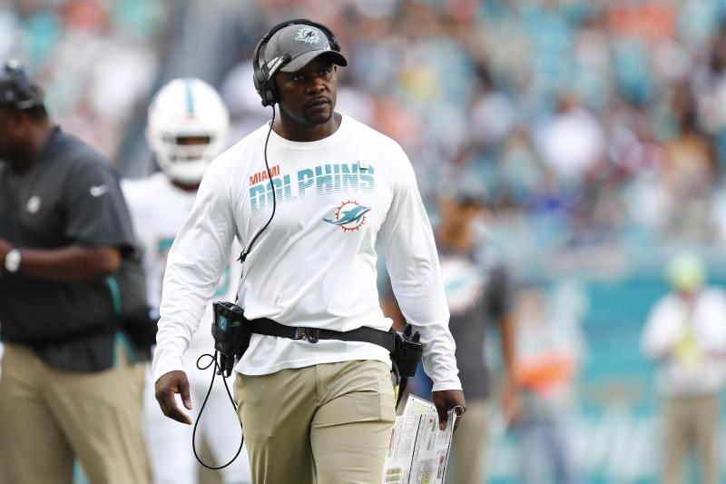 Miami Dolphins head coach Brian Flores follows a play, during the second half at an NFL football game against the Washington Redskins, Sunday, Oct. 13, 2019, in Miami Gardens, Fla. (AP Photo/Brynn Anderson)