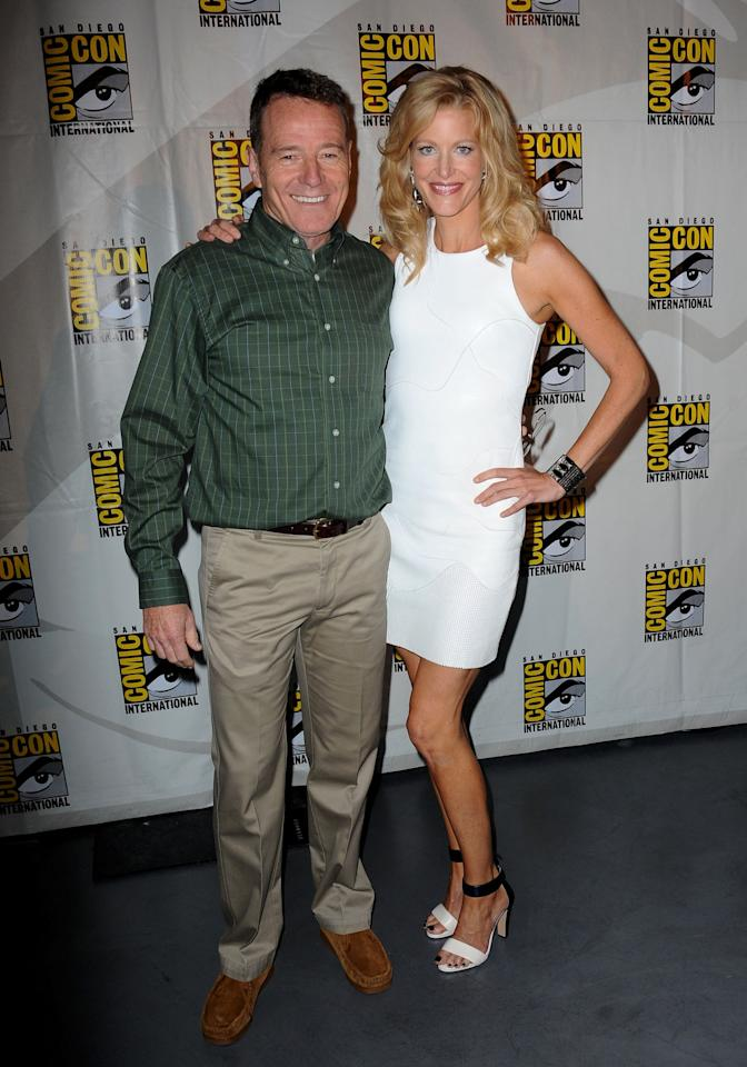 "Bryan Cranston and Anna Gunn at the ""Breaking Bad"" panel during Comic-Con International 2013 at San Diego Convention Center on July 21, 2013 in San Diego, California."