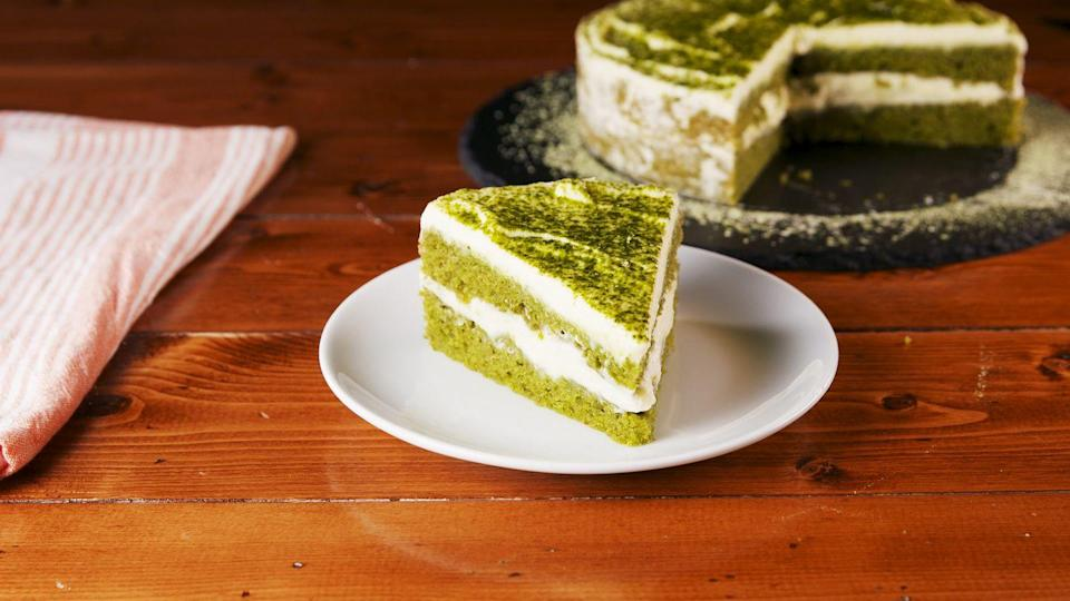 """<p>There's so matcha to love. </p><p>Get the recipe from <a href=""""https://www.delish.com/cooking/recipe-ideas/a26278840/matcha-cake-recipe/"""" rel=""""nofollow noopener"""" target=""""_blank"""" data-ylk=""""slk:Delish"""" class=""""link rapid-noclick-resp"""">Delish</a>.</p>"""