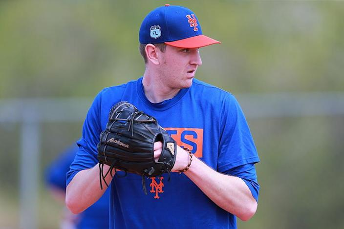 <p>New York Mets pitching prospect Jimmy Duff during a bullpen session at the Mets spring training facility at First Data Field in Port St. Lucie, Fla., Friday, Feb. 24, 2017. (Gordon Donovan/Yahoo Sports) </p>