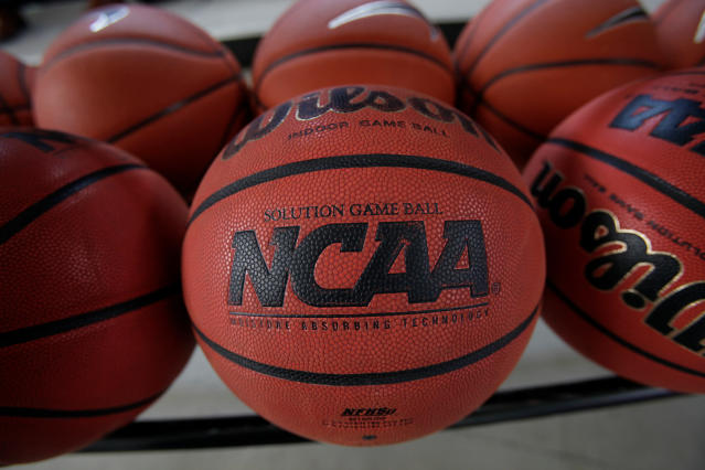 "FILE - In this March 22, 2010, file photo, basketballs are seen before Northern Iowa's NCAA college basketball practice, in Cedar Falls, Iowa. College basketball spent an entire season operating amid a federal corruption investigation that magnified long-simmering problems within the sport, from unethical agent conduct to concerns over the ""one-and-done"" model. Now its time to hear new ideas on how to fix them. On Wednesday morning, April 25, 2018, the commission headed by former Secretary of State Condoleezza Rice will present its proposed reforms to university presidents of the NCAA Board of Governors and the Division I Board of Directors at the NCAA headquarters in Indianapolis. And that starts what could be a complicated process in getting changes adopted and implemented in time for next season. (AP Photo/Charlie Neibergall, File)"