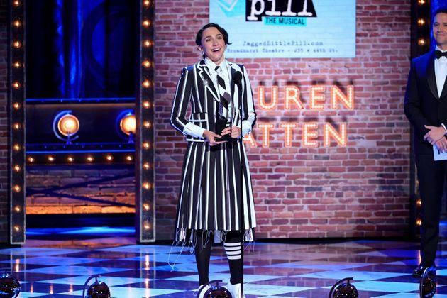 Lauren Patten accepts the Tony Award for best performance by an actress in a featured role in a musical for