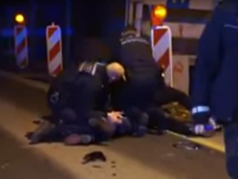 German police were caught on video beating a man in Stuttgart on 19 February: YouTube