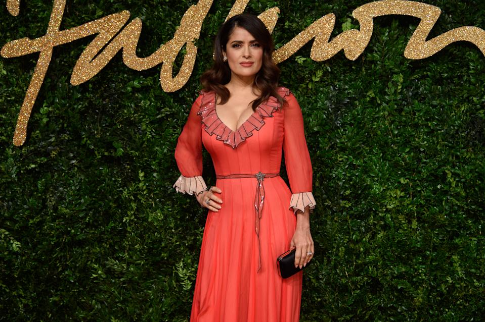 Salma Hayek poses for photographers upon arrival at the British Fashion Awards 2015 in London, Monday, Nov. 23, 2015. (Photo by Jonathan Short/Invision/AP)
