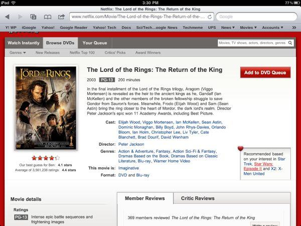 Pared-down Netflix iPad app gains speed, loses features