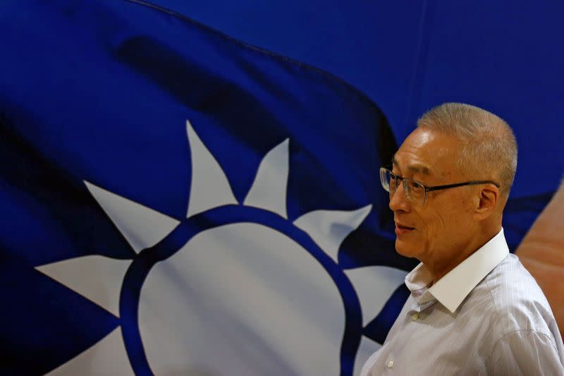 Wu Den-yih, newly elected chairman of Taiwan's opposition Nationalist Kuomintang Party (KMT), arrives at a news conference in Taipei