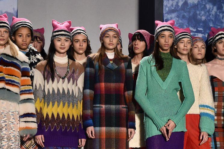 The Missoni models in their pussy hats at Milan Fashion Week. (Photo: Getty Images)