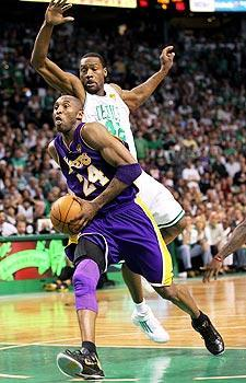 Kobe Bryant is shooting 40.9 percent against Tony Allen and the Celtics through the first four games of the NBA Finals