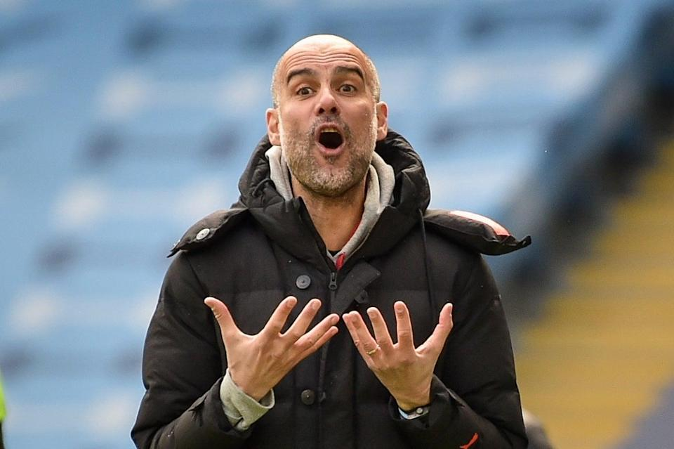 Pep Guardiola reacts during City's defeat by Leeds (EPA)