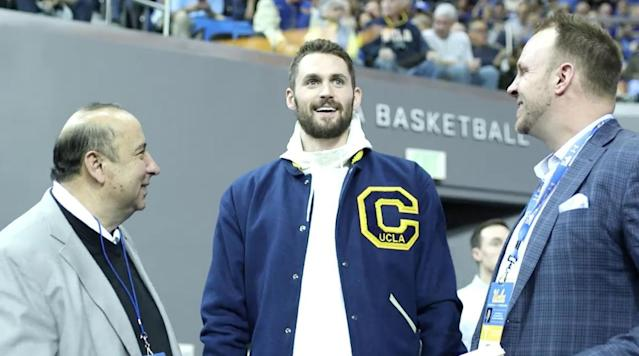 """<p>WESTWOOD, Calif. — """"I don't quite look the same.""""</p><p>That was Kevin Love's smiling reaction to one of several pictures of him around UCLA's athletic complex, as he returned to campus for the Bruins' senior night during NBA All-Star Weekend.</p><p>His current figure wasn't the only new thing in Westwood—he came back to check out the Kevin Love Athletic Performance Center for the first time since its opening this season. The upgraded weight room in the Mo Ostin Basketball Center was made possible by Love's financial contribution in Sept. 2016, which matched the largest donation ever by a former basketball student-athlete in school history (the other being his former UCLA teammate, Russell Westbrook, who the new practice court is named after).</p><p>Love's overall tour was his first around the entire Bruins athletics concourse, checking out the Wasserman Football Center, tennis courts and entire Mo Ostin Basketball Center, where he privately met with the team in the locker room before it faced Oregon. At one point, he stopped to admire his name among the Basketball Center donors, and pointed out another one: his uncle, Mike, a founding member of The Beach Boys. Love was accompanied by his sister, Emily; girlfriend and <em>SI Swimsuit</em> model, Kate Bock; best friend, Ernie Spada; longtime business consultant, Shannon McGauley; and Cavaliers assistant coach, Phil Handy.</p><p>Before watching the Bruins defeat the Ducks and making a speech in the first half following a video tribute, Love sat down with The Crossover's Jared Zwerling in the Athletic Performance Center. They discussed his impact on campus, college memories, special bond with Russell Westbrook and other UCLA teammates, and return this season to the Cavaliers.</p><p><strong>Jared Zwerling: What are your first impressions of the Kevin Love Athletic Performance Center?</strong></p><p><strong>Kevin Love:</strong> It's unbelievable. I mean, I only knew the space from what I saw on photos, but as a number"""