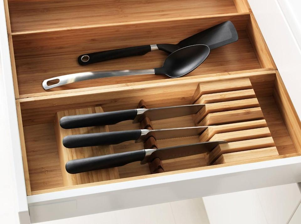 "<p>Not only will the <a href=""https://www.popsugar.com/buy/Variera%20Knife%20Tray-446960?p_name=Variera%20Knife%20Tray&retailer=ikea.com&price=15&evar1=casa%3Aus&evar9=46151613&evar98=https%3A%2F%2Fwww.popsugar.com%2Fhome%2Fphoto-gallery%2F46151613%2Fimage%2F46152143%2FVariera-Knife-Tray&list1=shopping%2Cikea%2Corganization%2Ckitchens%2Chome%20shopping&prop13=api&pdata=1"" rel=""nofollow noopener"" target=""_blank"" data-ylk=""slk:Variera Knife Tray"" class=""link rapid-noclick-resp"">Variera Knife Tray</a> ($15) make your drawers organized, but it will also keep your knives sharp!</p>"