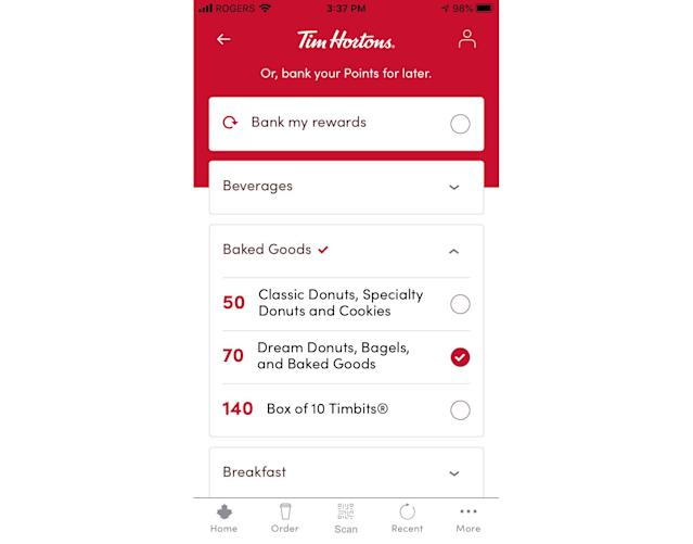 An example of how to set the reward goal in the Tim Hortons app. (Yahoo News Canada)