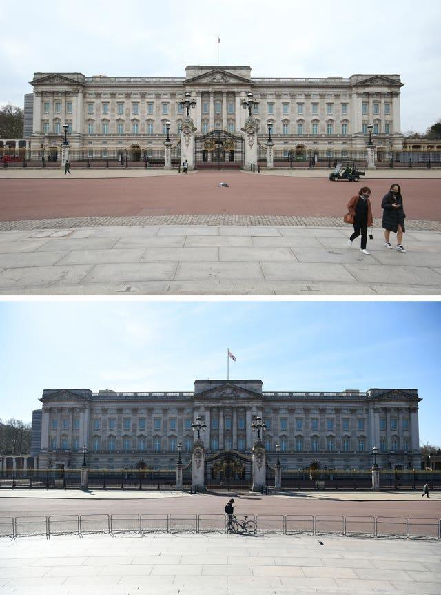 Composite of photos of Buckingham Palace in London taken today (top) and the same view on 24/03/20 (bottom), the day after Prime Minister Boris Johnson put the UK in lockdown