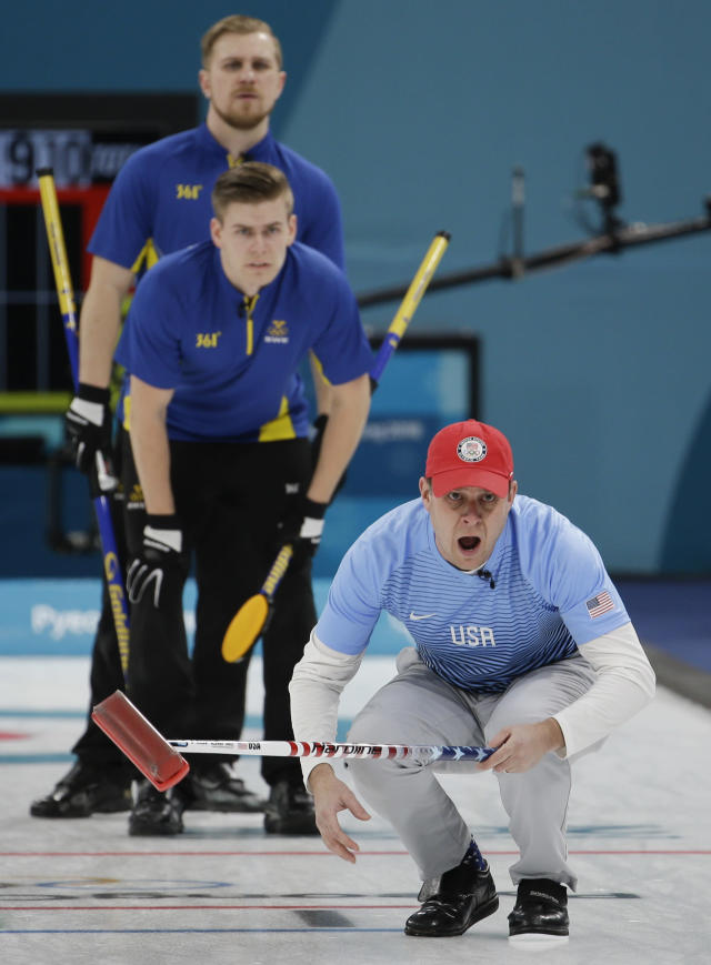 United States's skip John Shuster, below, reacts during the men's final curling match against Sweden at the 2018 Winter Olympics in Gangneung, South Korea, Saturday, Feb. 24, 2018. (AP Photo/Natacha Pisarenko)