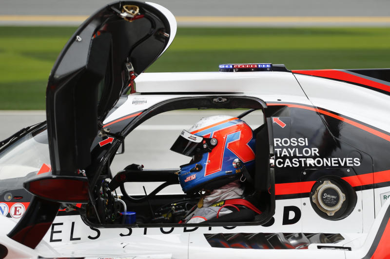 ACURA Team Penske driver Ricky Taylor waits to take the track in the pits during practice for the Rolex 24 hour auto race at the Daytona International Speedway, in Daytona Beach Fla., on Thursday, Jan. 23, 2020. (AP Photo/Reinhold Matay)