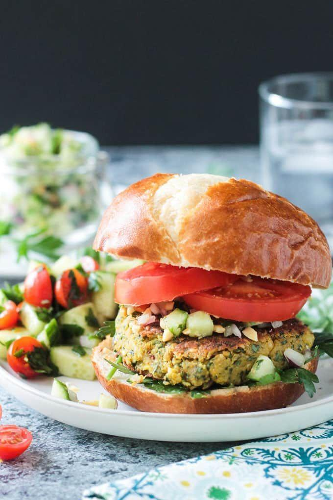 """<p>This Western update of a Mediterranean delicacy is every bit as juicy as it is refreshing.</p><p><a class=""""link rapid-noclick-resp"""" href=""""https://www.veggieinspired.com/falafel-burger/"""" rel=""""nofollow noopener"""" target=""""_blank"""" data-ylk=""""slk:GET THE RECIPE"""">GET THE RECIPE</a></p><p><em>Per serving: 181 calories, 5 g fat (1 g saturated), 27 g carbs, 3 g sugar, 444 mg sodium, 8 g fiber, 9 g protein</em></p>"""