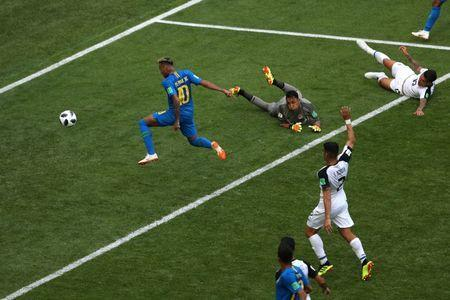 Brazil's Neymar scores their second goal. REUTERS/Lee Smith