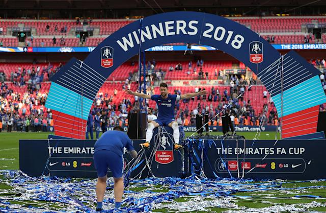 Soccer Football - FA Cup Final - Chelsea vs Manchester United - Wembley Stadium, London, Britain - May 19, 2018 Chelsea's Gary Cahill poses for a photograph on the podium Action Images via Reuters/Lee Smith