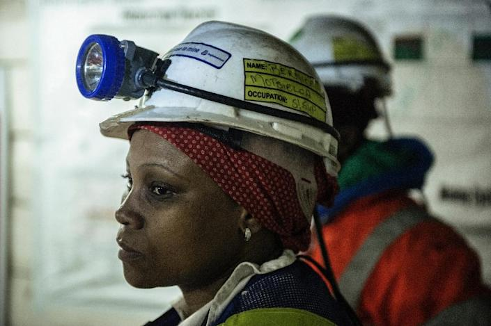 Bernice Motsieloa, a 33-year-old mother of two, is a shift supervisor at Anglo American's Bathopele platinum mine in South Africa -- one of several thousand female miners employed in a traditionally male-dominated environment (AFP Photo/Mujahid Safodien )