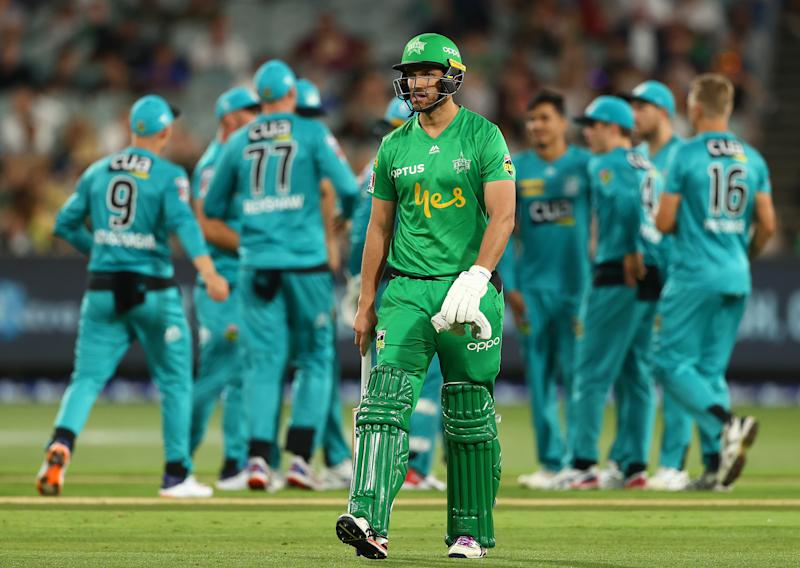 Nathan Coulter-Nile of the Stars walks off after he was dismissed Mujeeb Ur Rahman of the Brisbane Heat during the Big Bash League match between the Melbourne Stars and the Brisbane Heat at the Melbourne Cricket Ground on January 25, 2020 in Melbourne, Australia. (Photo by Robert Cianflone - CA/Cricket Australia via Getty Images)