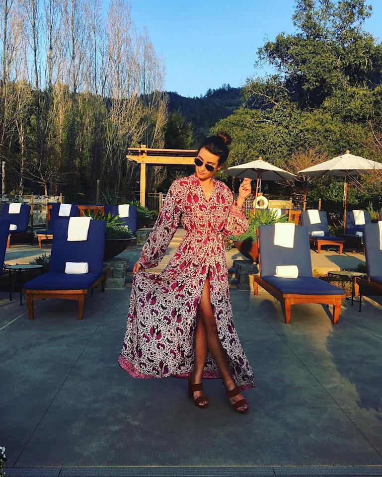 """<p>Comfort is key when you're on a wine tasting trip, so for Lea Michele that meant wearing a long flowy dress that made her look a little bit like a glass of red vino. """"Napa,"""" she wrote. (Photo: <a rel=""""nofollow"""" href=""""https://www.instagram.com/p/BST_H3ag0Cz"""">Lea Michele via Instagram</a>) </p>"""
