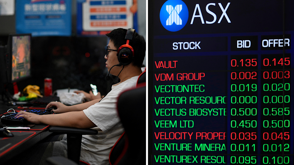 A young man plays a video game and the ASX board