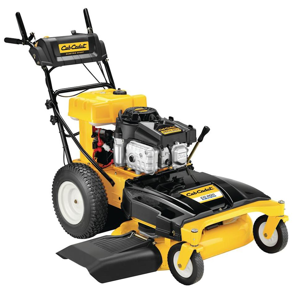 """<p><strong>Cub Cadet</strong></p><p>homedepot.com</p><p><strong>$1399.00</strong></p><p><a href=""""https://go.redirectingat.com?id=74968X1596630&url=https%3A%2F%2Fwww.homedepot.com%2Fp%2FCub-Cadet-33-in-382-cc-Wide-Cut-Gas-Electric-Start-Walk-Behind-Self-Propelled-Lawn-Mower-CC800%2F308039742&sref=http%3A%2F%2Fwww.popularmechanics.com%2Fhome%2Flawn-garden%2Fg26763652%2Flarge-walk-behind-lawn-mower%2F"""" target=""""_blank"""">Buy Now</a></p><p>If you want something built more robustly, but still firmly in the consumer category, Cub Cadet offers a 33-inch mower powered by a 382-cc engine. Note that its cutting deck is suspended from above. This enables single-lever height adjustment; you don't have to adjust the caster wheels separately, as you do on the smaller machine. </p><p>Like its smaller counterpart, it's equipped with a blade brake clutch feature. Unlike the smaller mower, it has a gear transmission with reverse, neutral, and four forward speeds.</p>"""