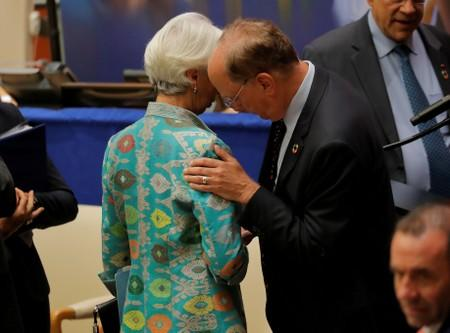 FILE PHOTO: Christine Lagarde, International Monetary Fund (IMF) Managing Director speaks with Larry Fink, Chief Executive Officer of BlackRock at U.N. meeting on financing