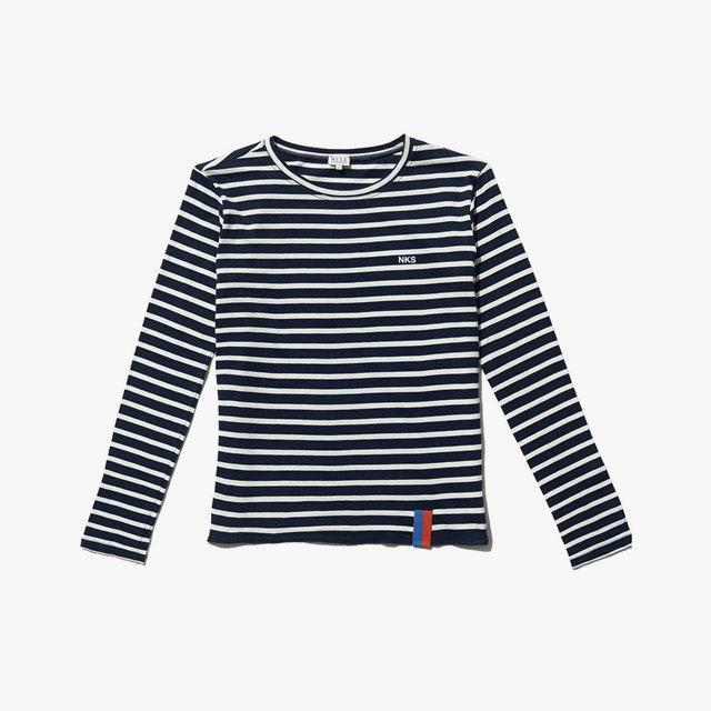 "$128, KULE. <a href=""https://www.kule.com/collections/monogram/products/the-modern-long-navy-cream-monogram"" rel=""nofollow noopener"" target=""_blank"" data-ylk=""slk:Get it now!"" class=""link rapid-noclick-resp"">Get it now!</a>"