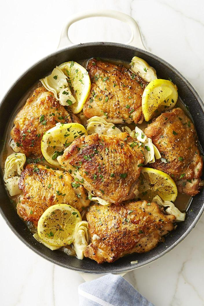"""<p>Six ingredients into the skillet (including a generous splash of white wine) makes for a deliciously zesty and bright chicken dinner.</p><p><em><a href=""""https://www.goodhousekeeping.com/food-recipes/healthy/a44208/skillet-lemon-chicken-artichokes-recipe/"""" rel=""""nofollow noopener"""" target=""""_blank"""" data-ylk=""""slk:Get the recipe for Skillet Lemon Chicken With Artichokes »"""" class=""""link rapid-noclick-resp"""">Get the recipe for Skillet Lemon Chicken With Artichokes »</a></em></p>"""
