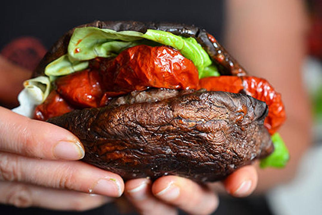 These juicy burgers are nestled between roasted portobello caps.