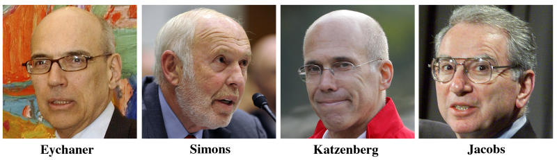 FILE - This combo image of file photos shows 4 of the 5 biggest Democrat presidential campaign donors, from left, Fred Eychaner, founder of Chicago-based alternative-newspaper publisher Newsweb Corp.; James Simons, a New York philanthropist, investor and founder of Renaissance Technologies; Jeffrey Katzenberg, Hollywood film producer and chief executive of DreamWorks Animation; and Irwin Jacobs, the founder and former chairman of Qualcomm. (AP Photo/File)