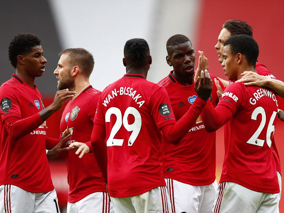 United celebrate against Bournemouth: Getty