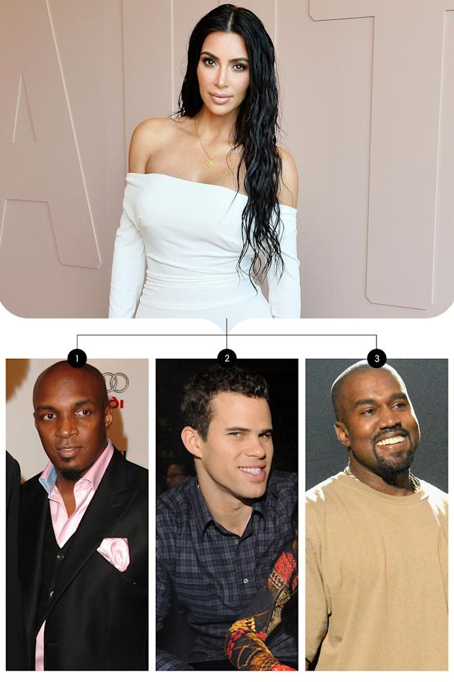 <p>Kim Kardashian West eloped with music producer Damon Thomas (1) in 2000 and they divorced in 2004. Her second marriage was to basketball player Kris Humphries (2) in 2011, and after just 72 days of marriage she filed for divorce. Kim went on to marry her third husband, Kanye West (3) in 2014 and they have a daughter and son together.</p>